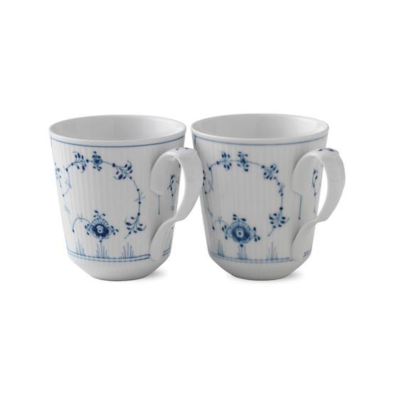 Blue Fluted Plain Mug, Set of 2