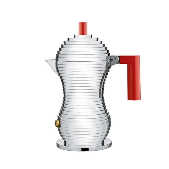 Pulcina Espresso Coffee Maker Red Handle Medium