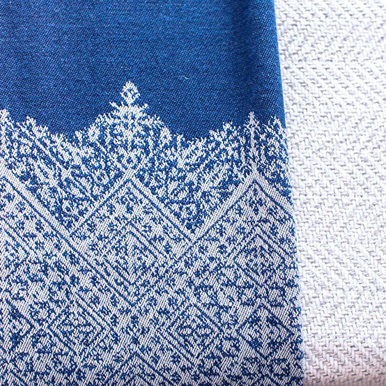 Fez Fine Micron Wool Throw in Indigo