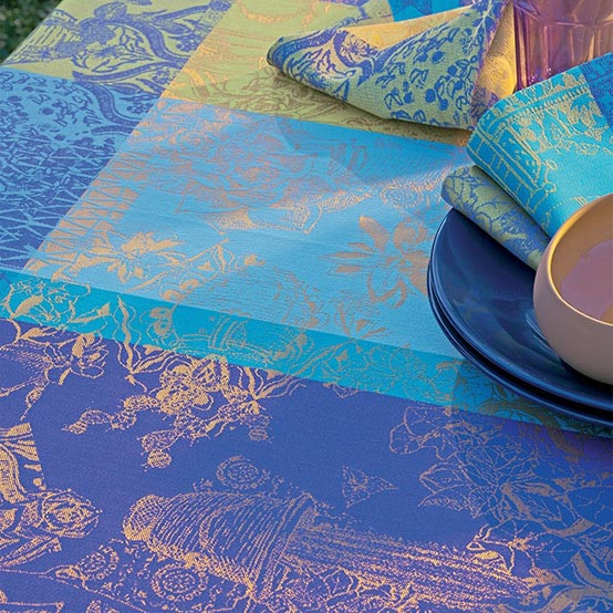 Mille Patios Coated Fabric in Majorelle (Price/Inch)