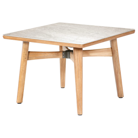 Monterey 39 Inch Square Teak Table with Ceramic Top in Frost with Parasol Hole