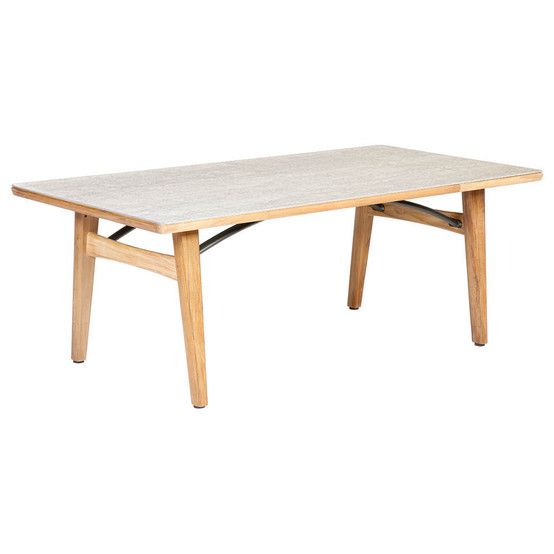 """Monterey 79"""" Rectangular Teak Table with Ceramic Top in Frost with Parasol Hole"""