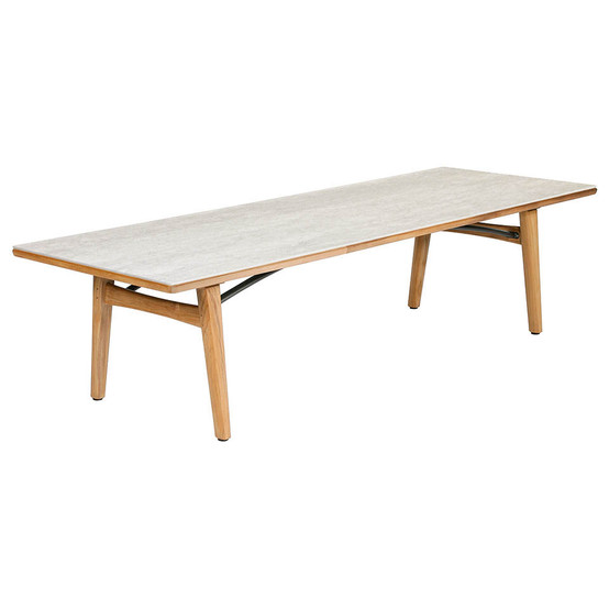 "Monterey 118"" Rectangular Teak Table with Ceramic Top in Frost with Parasol Hole"