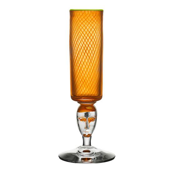Red Rim Brains Orange Footed Vase
