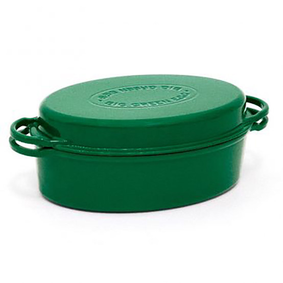Cast Iron Dutch Oven with Lid Enamel Green Oval