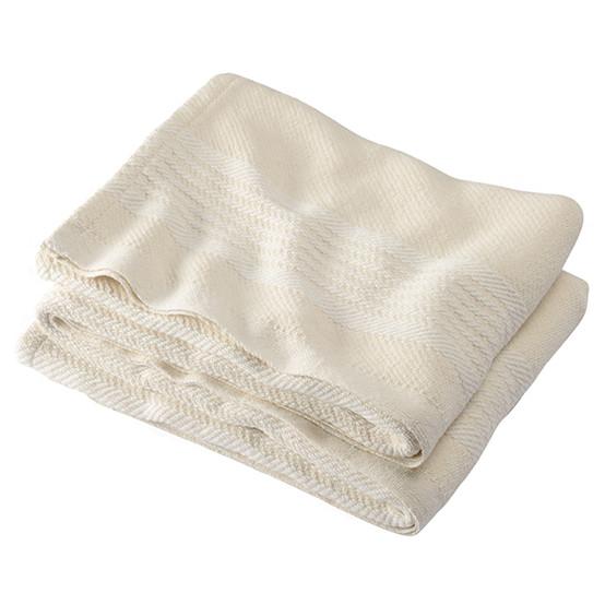 Camden Stripe Cotton Blanket in Natural