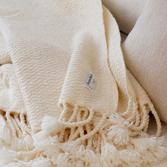 Boucle Wool Throw in Natural