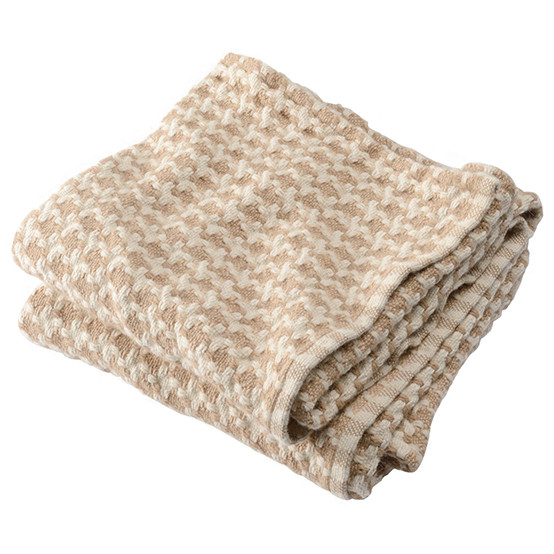 Chunky Houndstooth Day Blanket in Camel/Natural