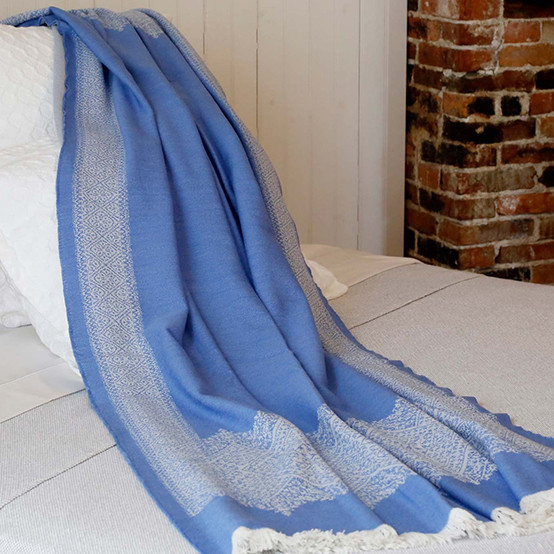 Fez Fine Micron Wool Throw in Bluebell