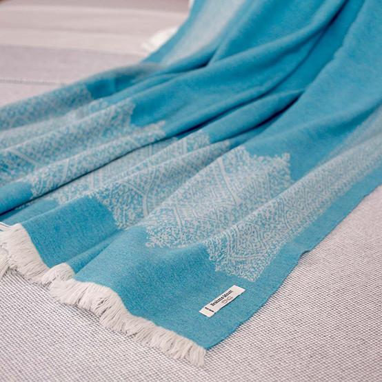 Fez Fine Micron Wool Throw in Capri
