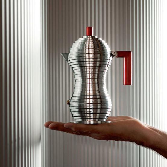 Pulcina Medium Induction Espresso Maker in Red