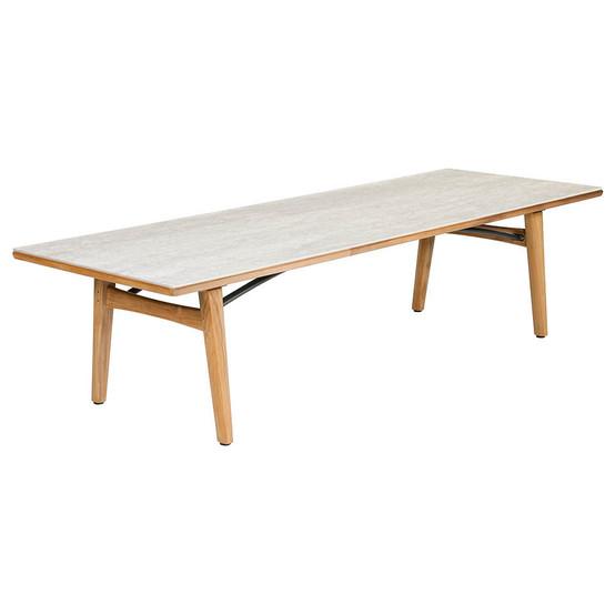 "Monterey 118"" Rectangular Teak Table with Ceramic Top in Frost"