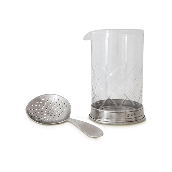 Mixing Glass and Cocktail Strainer Set