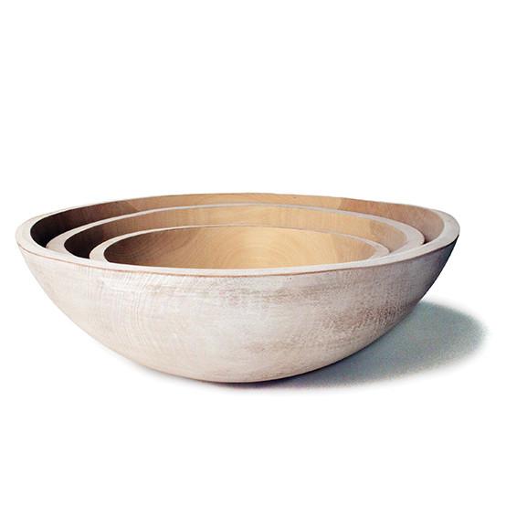 "White 15"" Wooden Peasant Bowl"