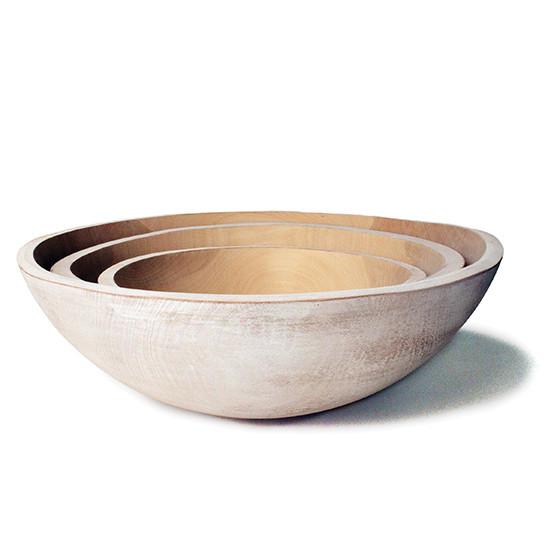 "White 17"" Wooden Peasant Bowl"