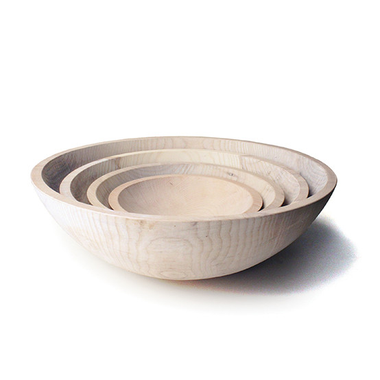 "White 12"" Crafted Wooden Bowl"