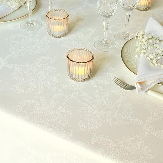 Mille Eternel Cotton Tablecloth in Albatre