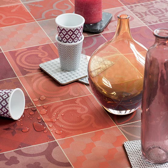 Mille Tiles Coated Fabric in Terracotta (Price/Inch) -on Roll