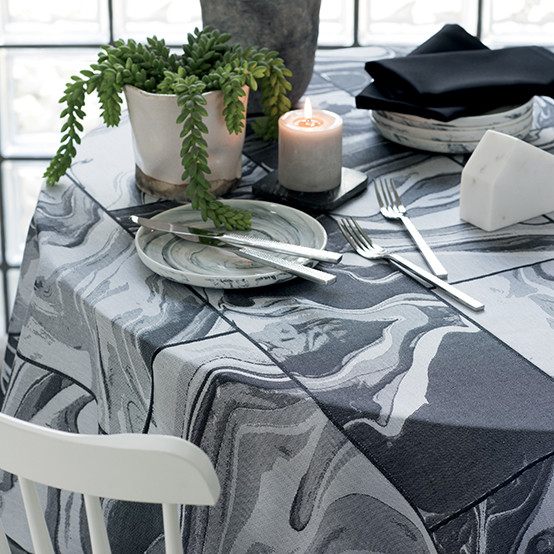 Mille Marble Coated Fabric in Black (Price/Inch)