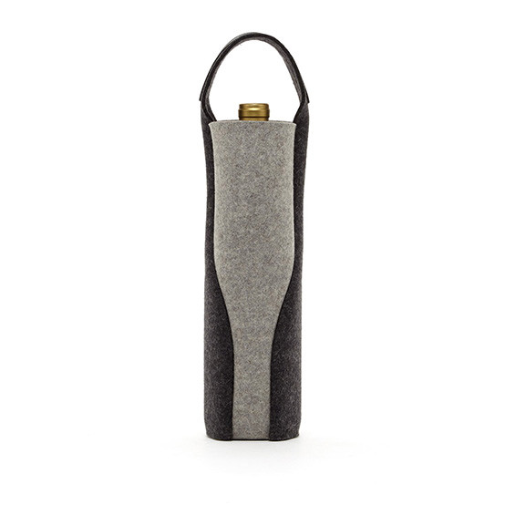 Cameo Felt Wine Carrier in Charcoal / Granite
