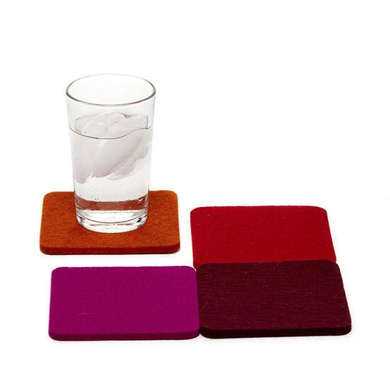 Square Coaster Set in Bordeaux