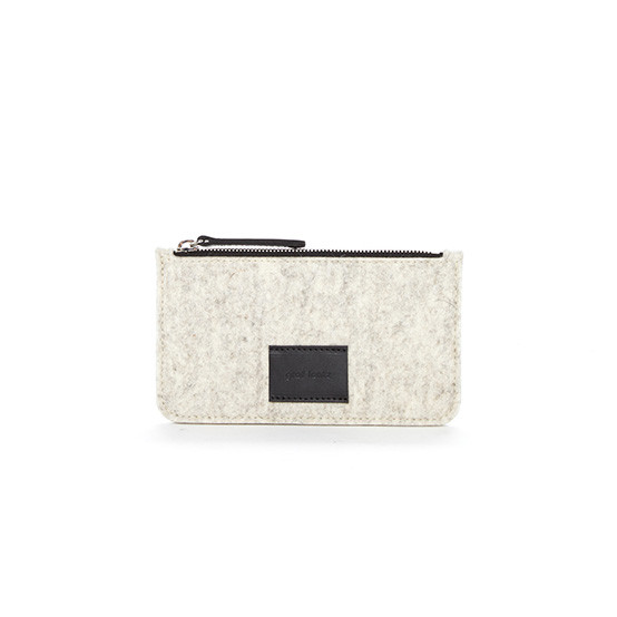 Petite Flat Pouch in Heather White