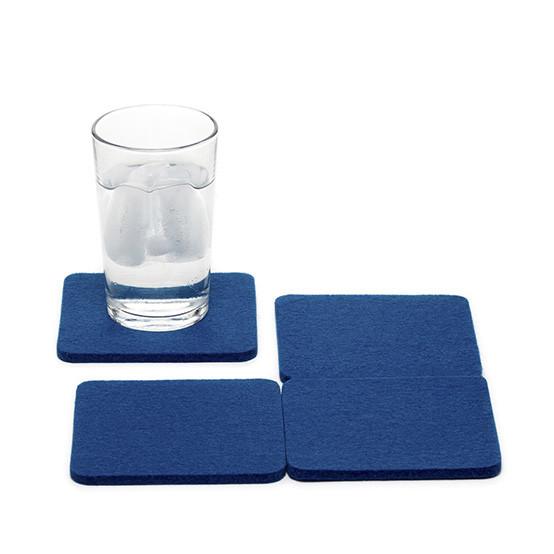 Square Coaster Set in Cobalt Blue Felt