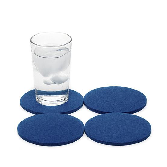 Round Coaster Set in Cobalt Blue Felt