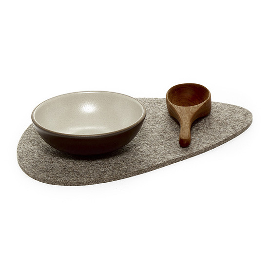 Large Stone Trivet in Ash Brown Felt