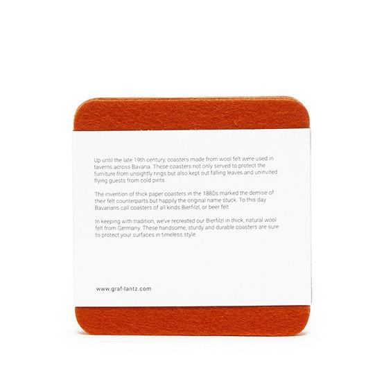 Square Coaster Set in Orange Felt