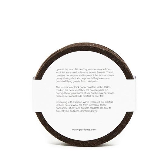 Round Coaster Set in Tobacco Felt