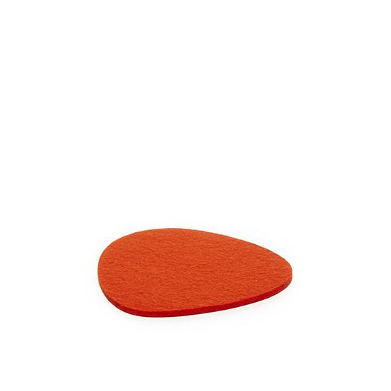 Small Stone Trivet in Orange Felt