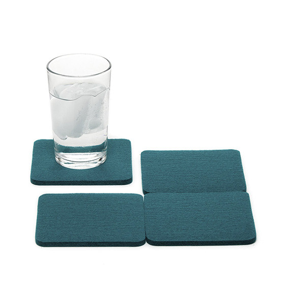Square Coaster Set in Teal