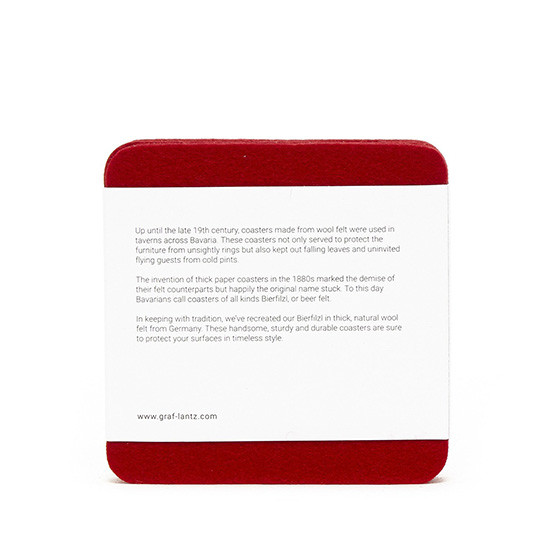 Square Coaster Set in Red Felt