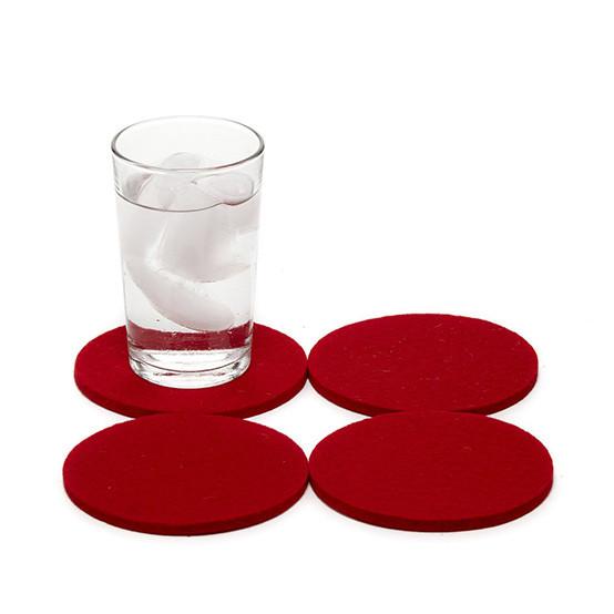 Round Coaster Set in Red