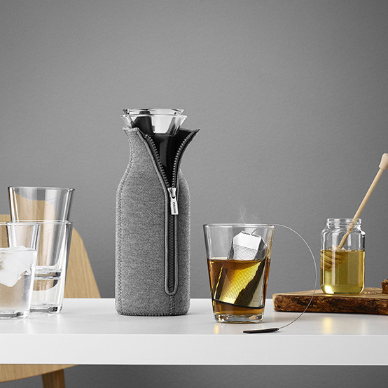 Fridge Carafe With Cover in Woven Dark Grey