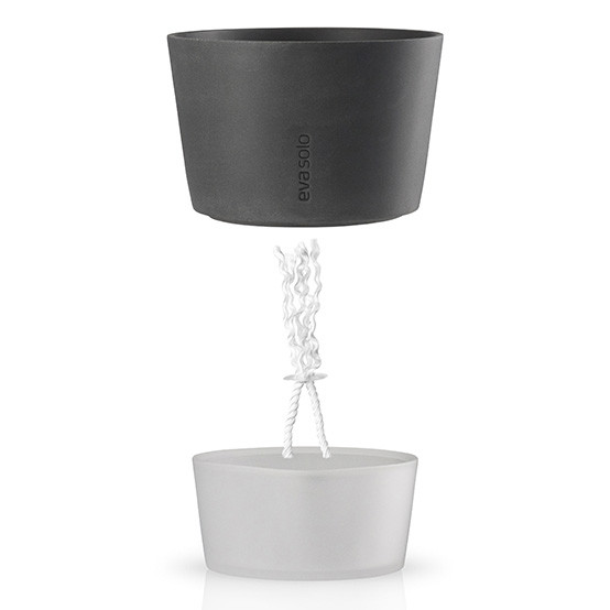 Medium Self-Watering Flower Pot in Stone Grey