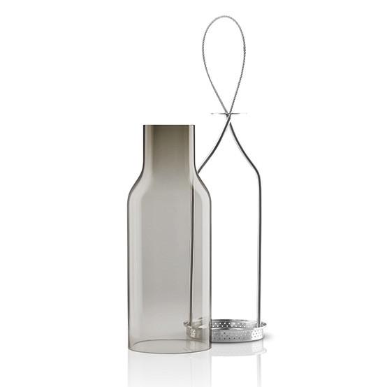 Large Glass Lantern in Smokey Grey