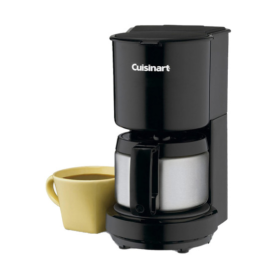 4 Cup Coffeemaker with Stainless Steel Carafe in Black