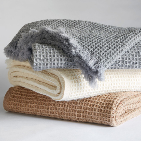 Searsport Wool Throw in Gray Heather