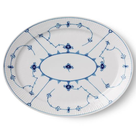 Blue Fluted Plain Oval Dish