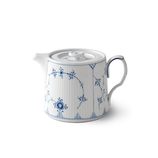 Blue Fluted Plain Teapot