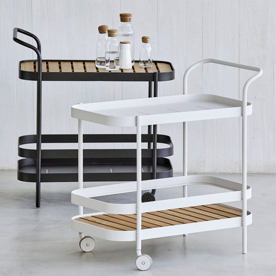 Roll Bar Trolley with Teak Tabletop in White