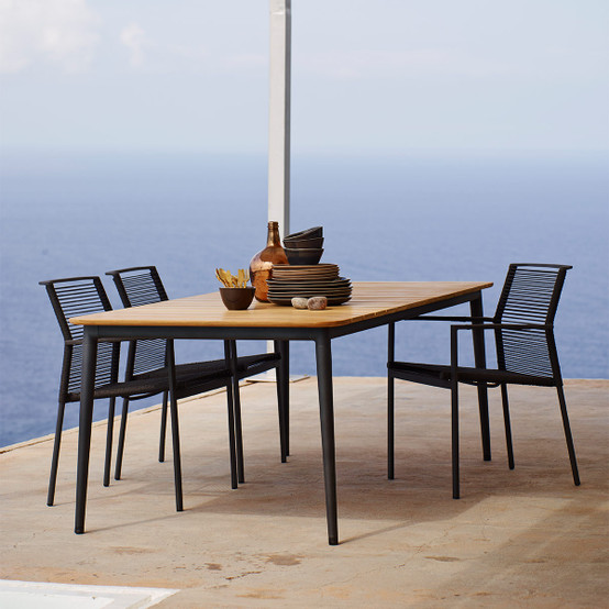 Core 82.5 Inch Dining Table with Teak Top in Lave Grey