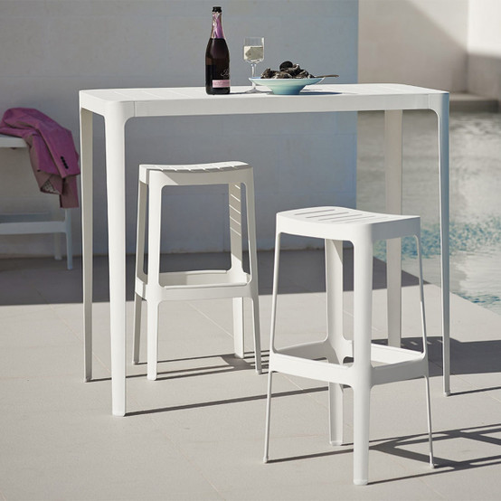 High Cut Bar Chair in White
