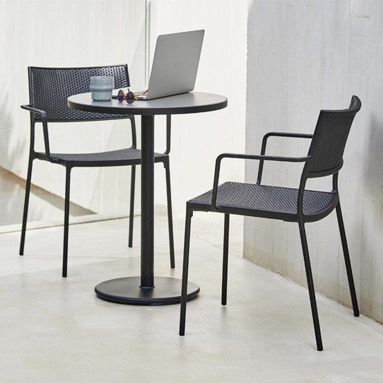 Less Chair with Armrest in Graphite Weave