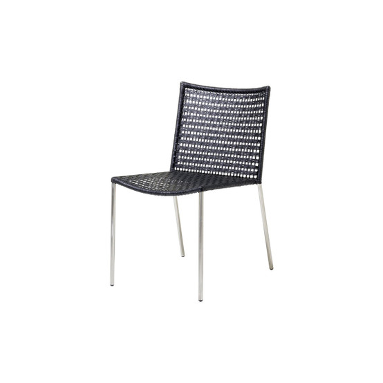Straw Flat Paper Yarn Dining Chair in Black