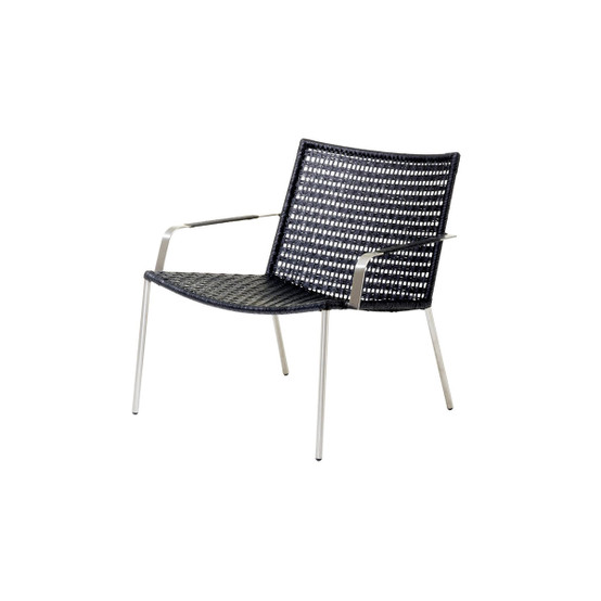 Straw Flat Paper Yarn Lounge Chair in Black