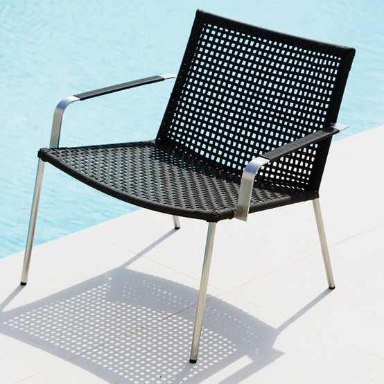 Straw Rope Lounge Armchair in Anthracite