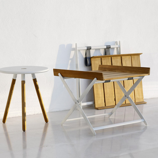 Rail Folding Tray Table in White